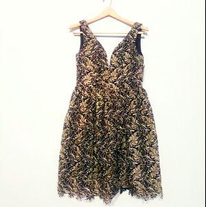 ROMEO + JULIET COUTURE Black & Gold Lace Dress
